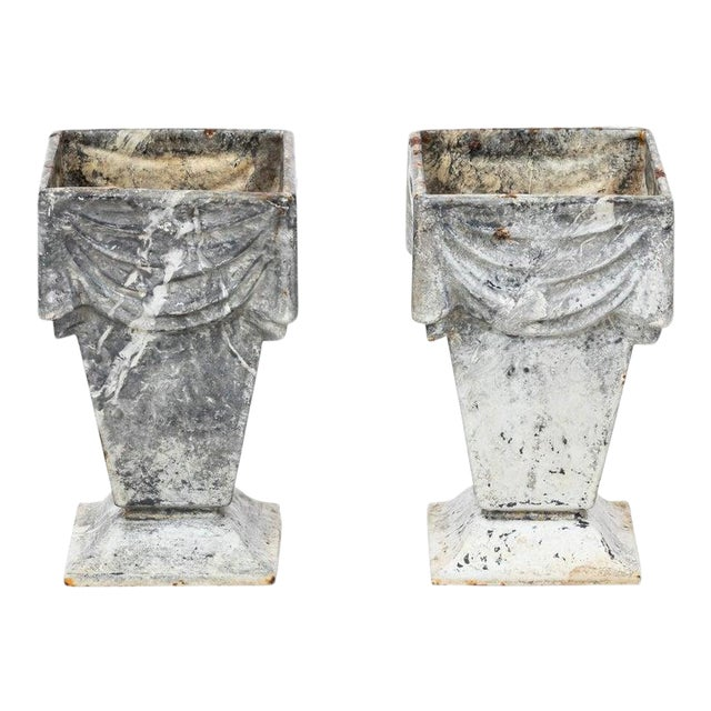 Neoclassical Style Cast Iron Vases With White Enamel Finish For Sale