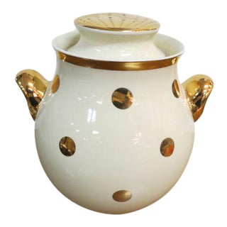 1950s Vintage Mid Century Modern Gold Dot Hall's Kitchenware Covered Jar For Sale