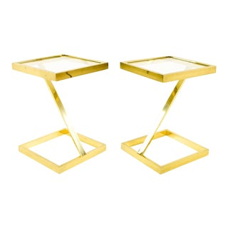 Mid Century Modern Brass Z Side End Tables - a Pair For Sale
