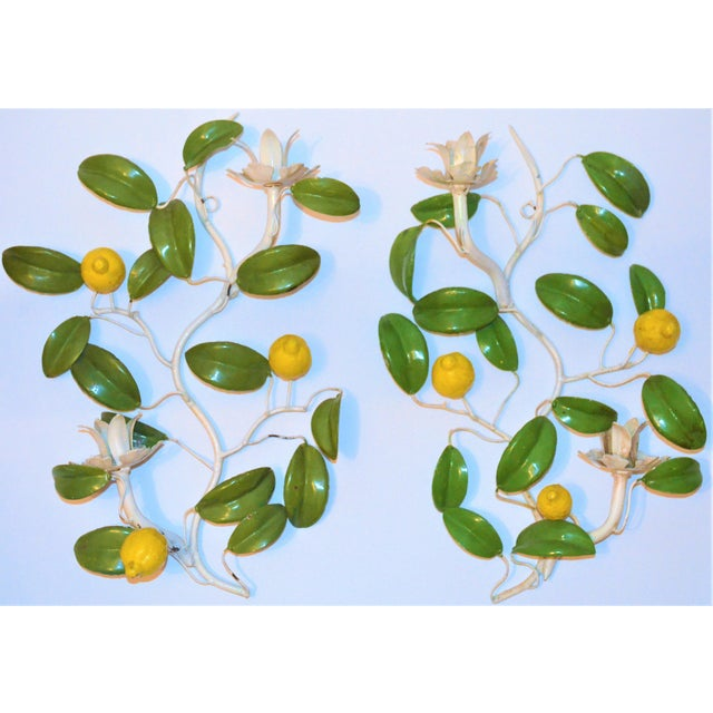 Green Italian Hand Painted Lemon Tree Tole Wall Sconces - a Pair For Sale - Image 8 of 8
