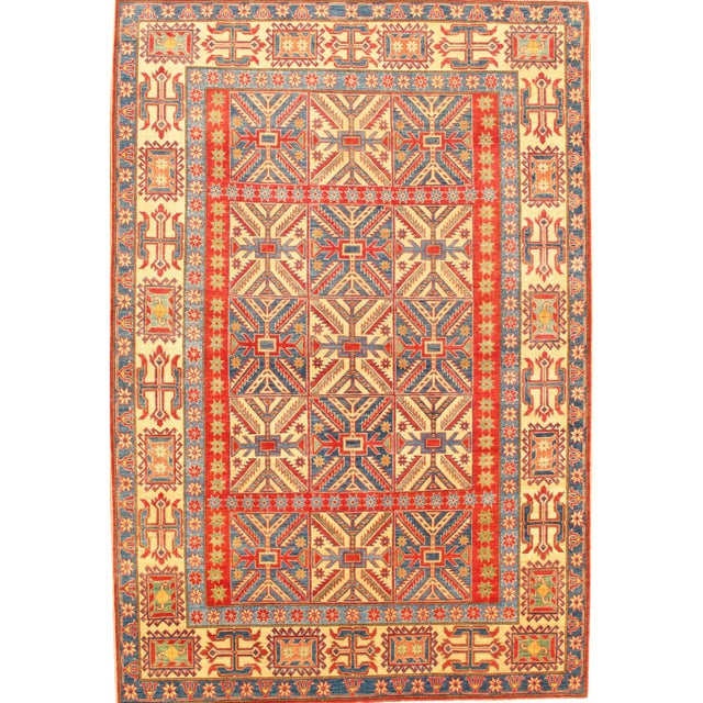 """Pasargad N Y Hand-Knotted Kazak Rug - 7'2"""" X 10'7"""" For Sale"""