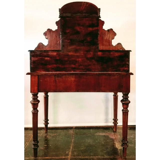 Wood North German Gründerzeit Period Writing Desk in the Form of Historicism With Neoclassic Decoration For Sale - Image 7 of 9