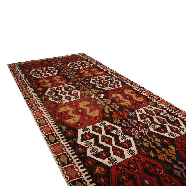 Rug & Kilim Vintage Mid-Century Malatya Red and Off-White Wool Kilim Rug- 5′10″ × 13′ For Sale - Image 4 of 6
