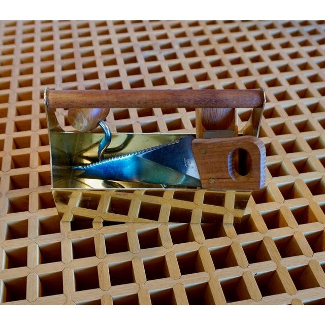 Teak Bar Caddie With Mini Brass Caddie For Sale - Image 4 of 8