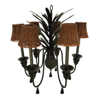 Vintage 1960's Bronze Metal Pineapple Six-Light Chandelier With Tassel Details For Sale