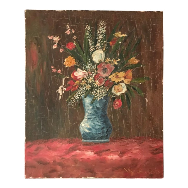 Vintage French Floral Still Life - Image 1 of 4