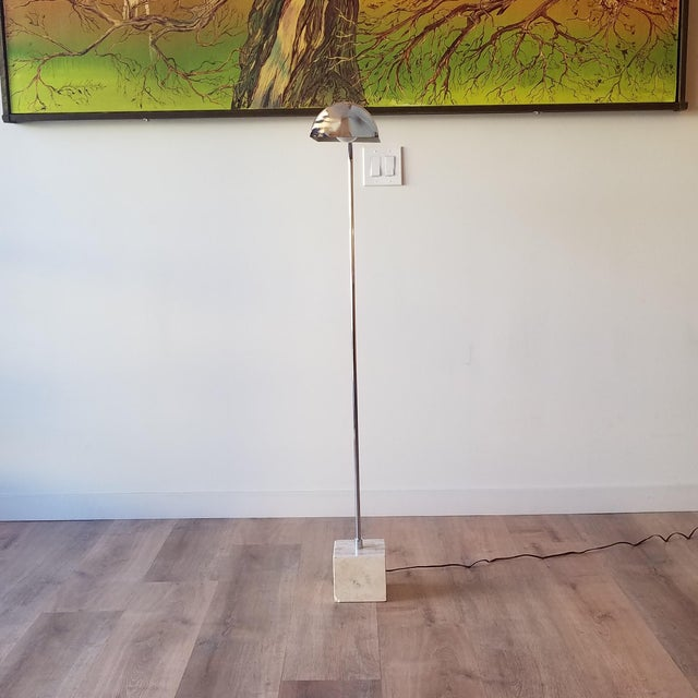 1970s Fratelli Mannelli Travertine and Chrome Floor Lamp for Raymor For Sale - Image 11 of 13