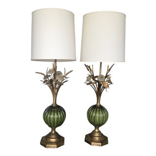 1960s Vintage Green Barovier & Toso Murano Glass Lamps - a Pair For Sale