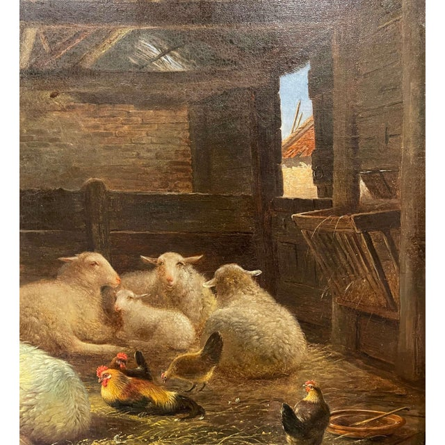 19th Century Dutch Sheep Painting in Carved Gilt Frame Signed Frans Lebret For Sale In Dallas - Image 6 of 13