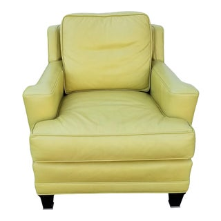 Vanguard Furniture Chartreuse Leather Armchair For Sale