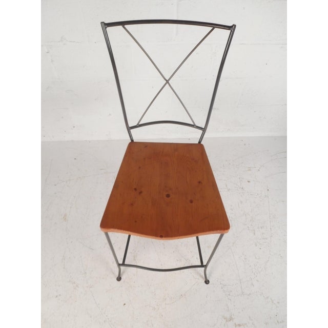 Set of Four Mid-Century Iron and Wood Bar Stools For Sale - Image 4 of 12