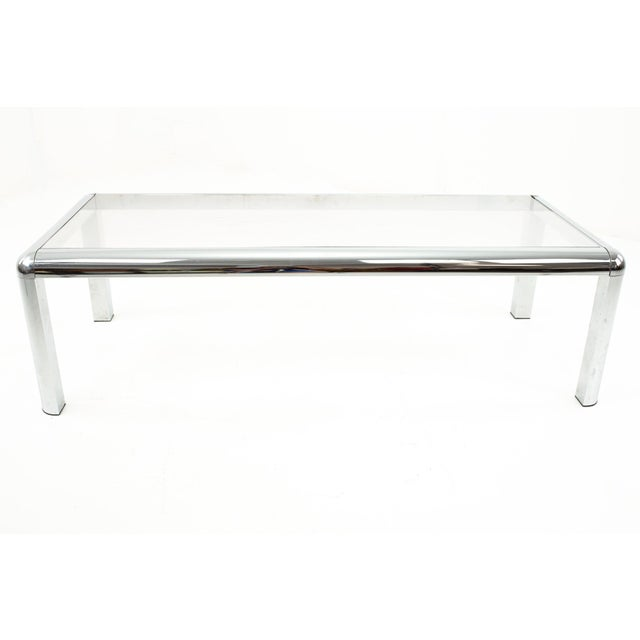 Mid Century Chrome and Glass Coffee Table Table measures: 51 wide x 22 deep x 15 high When you purchase a piece we...