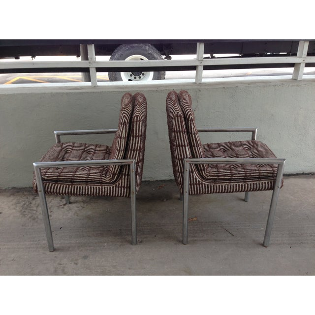 Mid-Century Modern Mid-Century Chrome Upholstered Armchairs - A Pair For Sale - Image 3 of 10