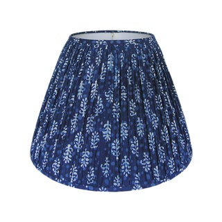 New, Made to Order, Indigo Blue Block Print Fabric, Small Pleated/Gathered Lamp Shade Shade For Sale