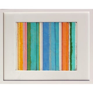 """""""Confections No. 28"""" - Framed Encaustic Stripes Painting by Gina Cochran"""