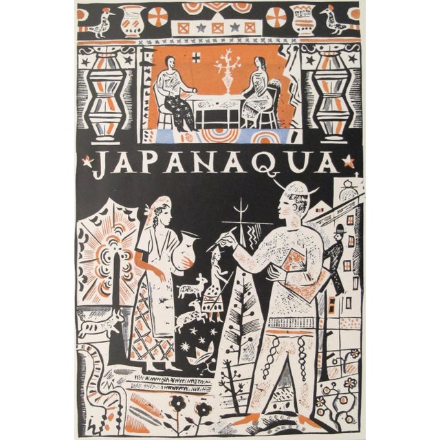 Date: 1927 Size: 5.5 x 8.5 inches Artist: Ernst Schneider This mini lithographic poster for Japanaqua (a type of ink used...