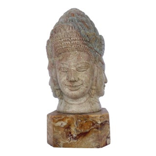 Soapstone Hand-Carved Bust of Brahma With Four Faces