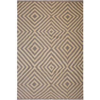 Abstract Stewart Hand-Woven Kilim Wool Rug - 8′9″ × 9′10″ For Sale