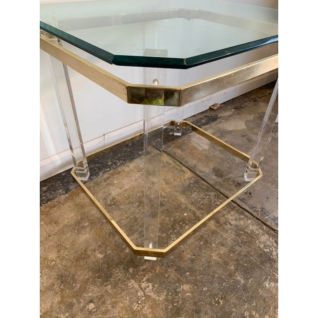 Metal 1970s Charles Hollis Jones Accent Table W/Lucite Legs & Glass Top For Sale - Image 7 of 9