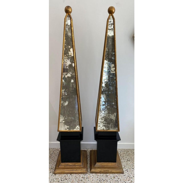 """1930s Vintage Obelisks 73"""" Italian Florentine Giltwood and Antiqued Mirror - a Pair For Sale - Image 5 of 12"""