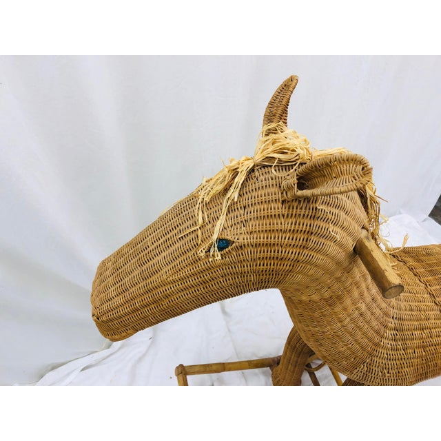 Vintage Wicker & Rattan Rocking Horse For Sale - Image 11 of 12