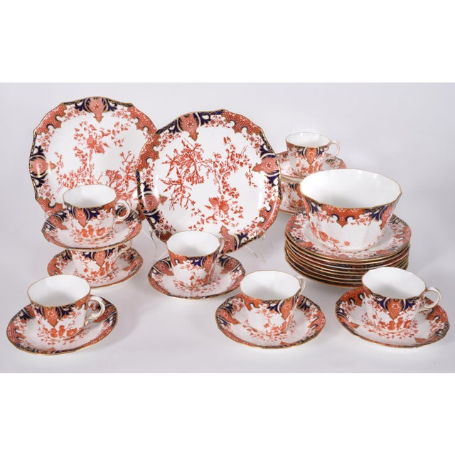 Antique English Royal Crown Derby Porcelain Luncheon Set - 27 Piece Set For Sale - Image 9 of 13