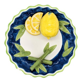 Bella Casa Trompe l'Oeil Blue and White Lemon and Bamboo Fruit Plate For Sale