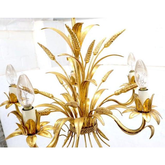 Gold Gilt Metal Cattail Sheaf Light Fixture Chandelier For Sale - Image 6 of 9