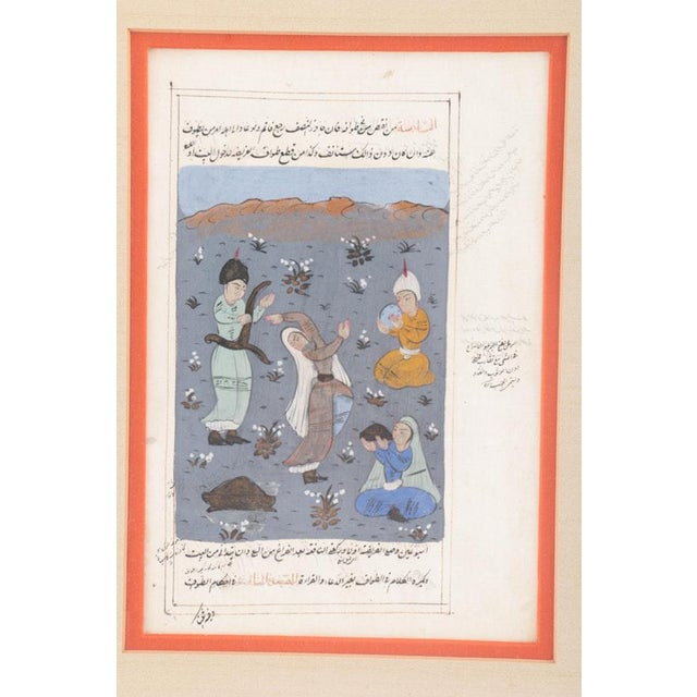 Asian Antique Framed Double-Sided Indo-Persian Gouache Miniature Manuscript Page For Sale - Image 3 of 11