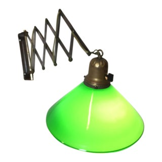 Extendable Mid-Century Fused Glass Green Sconce