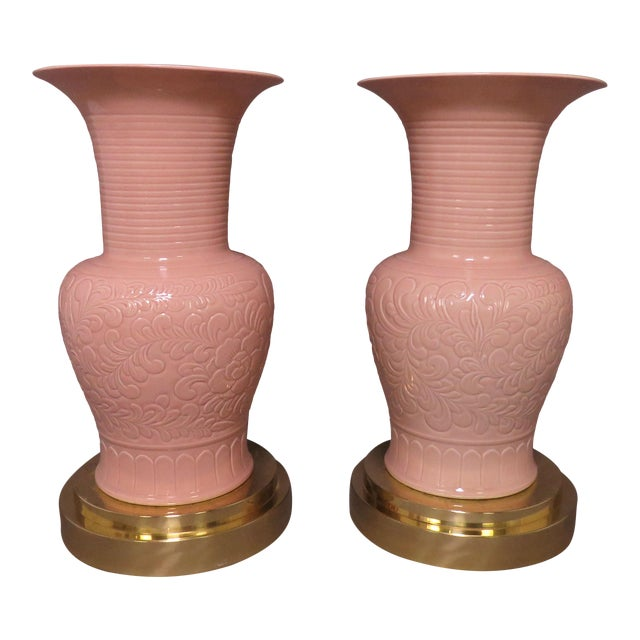 C. 1980s Hollywood Regency Style Palace Floor Vases on Brass Stands - a Pair For Sale