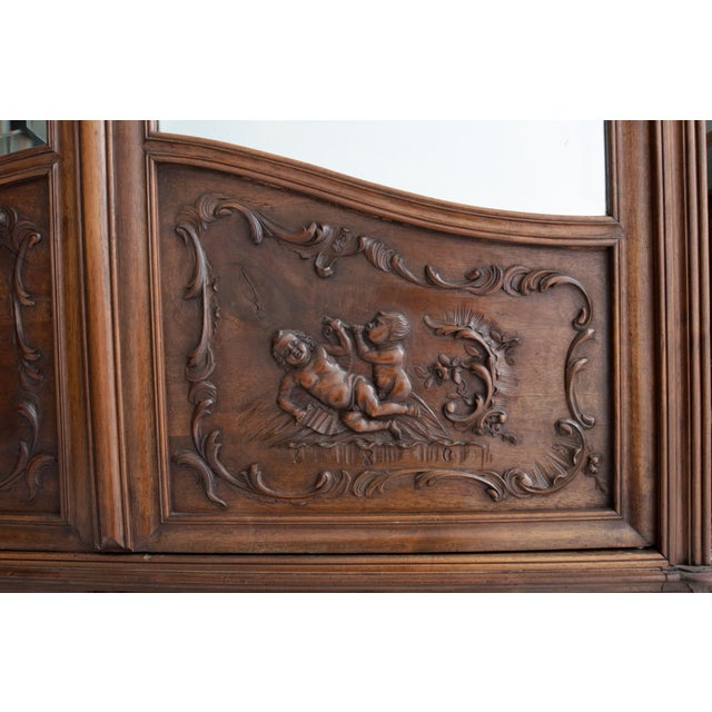 French 19th Century Louis XV Carved Walnut Mirror-Front Armoire For Sale In Baton Rouge - Image 6 of 10