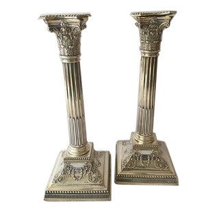 Pair of Silver Column Candlesticks
