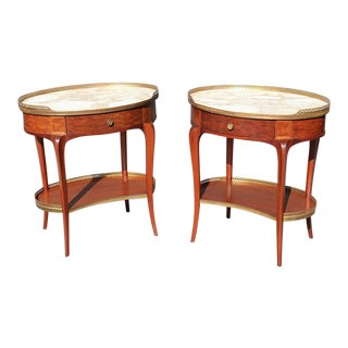 Pair of French Louis XV Style Marble Top End Tables For Sale