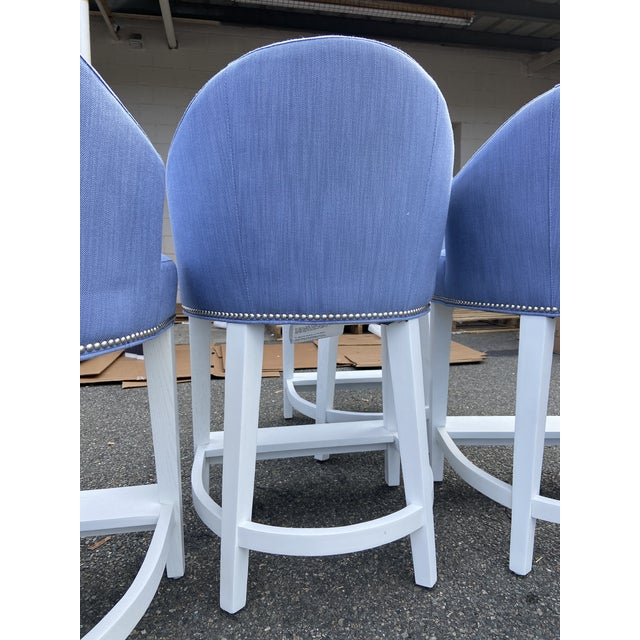 Metal Lee Industries ​​Counter Stools With Perennials Performance Fabric For Sale - Image 7 of 10