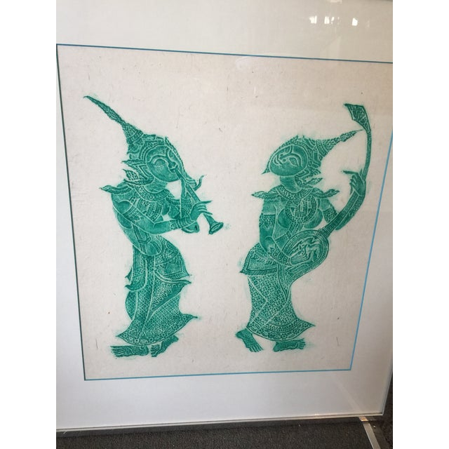 """Vintage Thai Temple Rubbing in Green. Excellent condition. Measures 26""""x29"""" , Image Size is 18.5""""x20"""". Thai Temple..."""