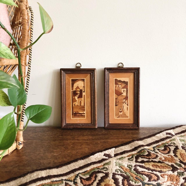 Metal Vintage South American Village Tiny Framed Marquetry Art - a Pair For Sale - Image 7 of 7