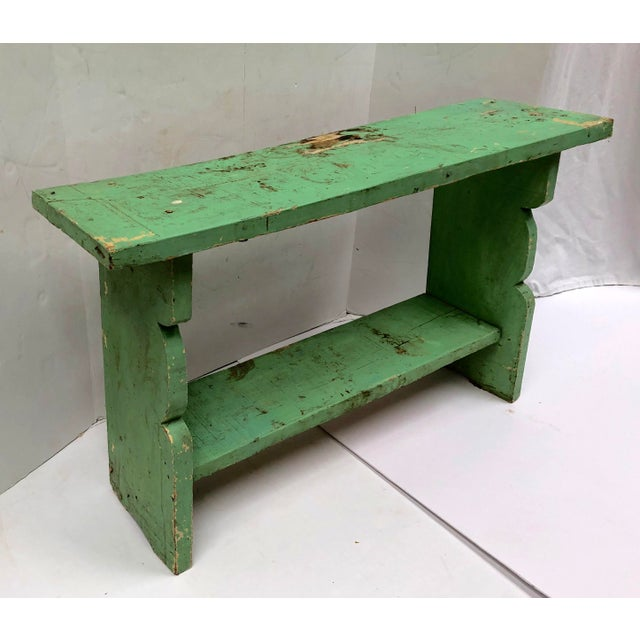 Farmhouse kitchen must have. Antique late 1800s handcrafted wood bucket bench. Imported from Hungary. Original celadon...
