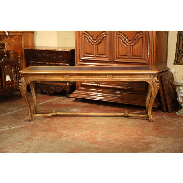 Wood Large 19th Century French Louis XV Carved Walnut Console Desk With Leather Top For Sale - Image 7 of 13