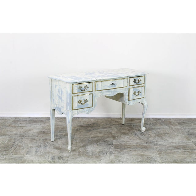 1960s French Provincial White Shabby Chic Vanity Desk For Sale - Image 5 of 13