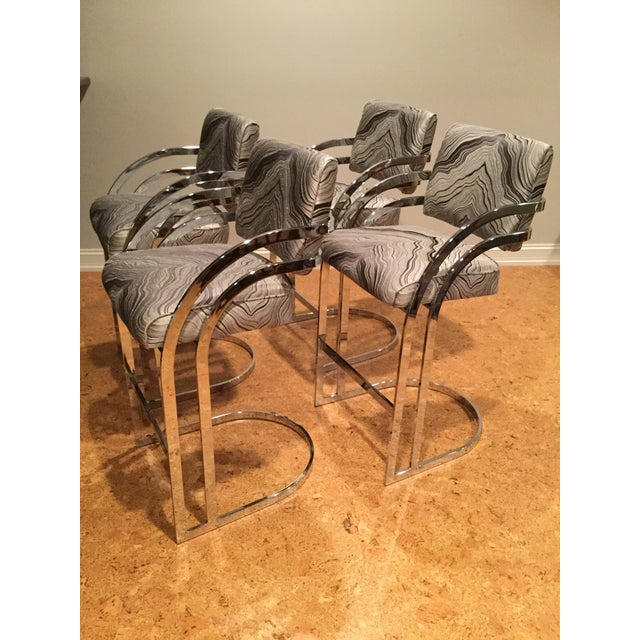 1970s Mid-Century Modern Milo Baughman Chrome Cantilever Bar Stools - Set of 4 For Sale - Image 12 of 12