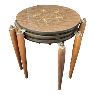 Mid - Century Modern Round Wooden Nesting Tables Retro - Set of 3 For Sale