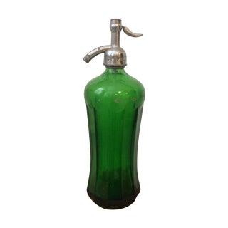 Vintage Green Glass Seltzer Bottle For Sale