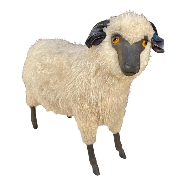 Life Size Vintage Sheep Ottoman in the Style of Lalanne For Sale