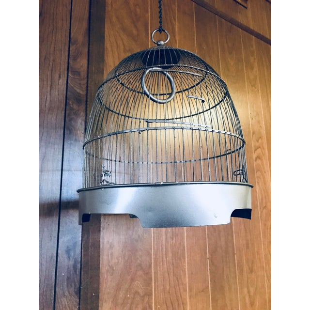 Vintage Brass Metal Dome Hanging Bird Cage - Image 4 of 7