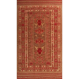 Modern Persian Transitional Ornate Geometric Red Kilim Wool Rug- 4′7″ × 8′3″ For Sale