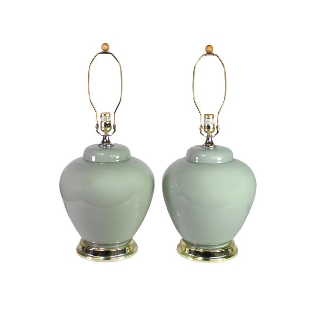 1980's Palm Beach Modernist Pale Mint or Celadon Glazed Ceramic Lamps - a Pair For Sale