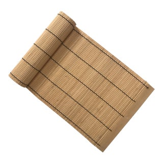 Asian Woven Bamboo Table Runner For Sale