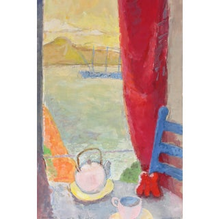 Gerald Wasserman Coastal Still Life With Teapot, Gouache on Paper, 20th Century For Sale