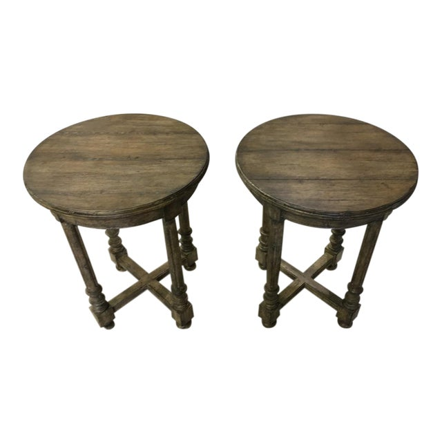 French Guy Chaddock Attleboro Round Lamp Tables - a Pair For Sale